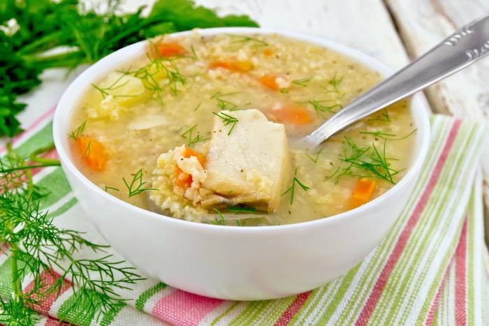 Пшенный суп с консервированной горбушей