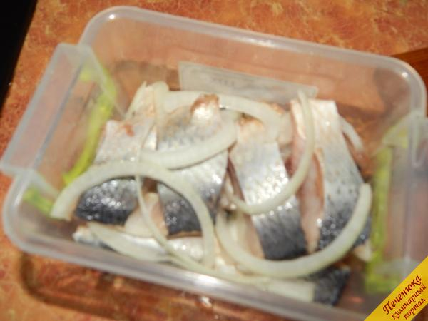В пищевой контейнер или в стеклянную банку выкладываем слоями селедку и лук