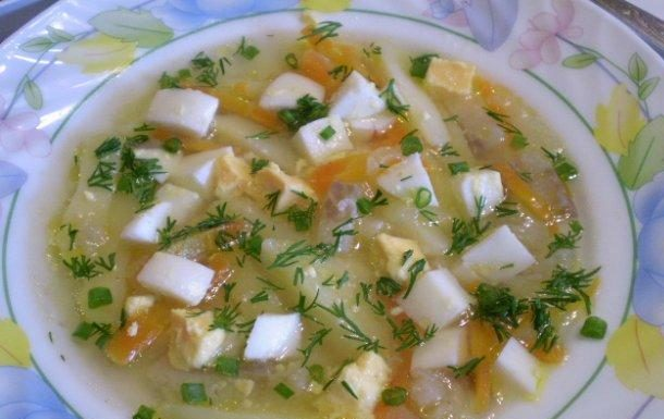 Суп из минтая с яйцами