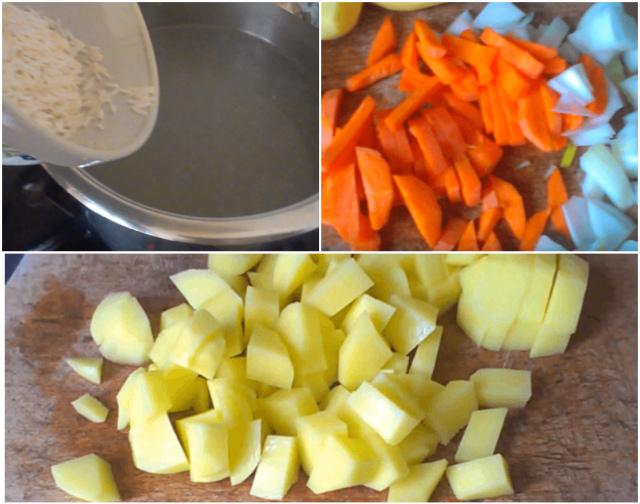 Добавляем в рыбный бульон рис и овощи