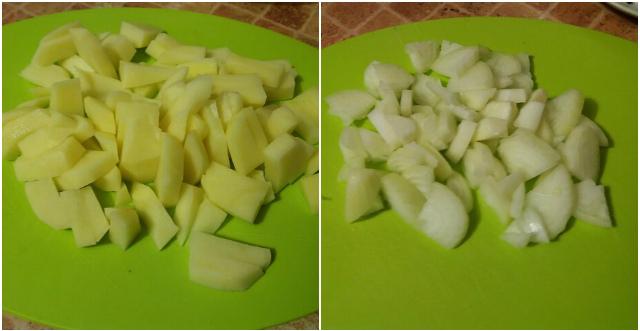 Нарезаем картофель и лук для ухи