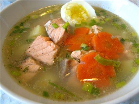 Уха (суп) из Кеты с пшеном интеллигентная. Рецепт.