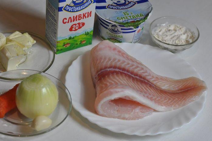 Филе пангасиуса под сметанным соусом