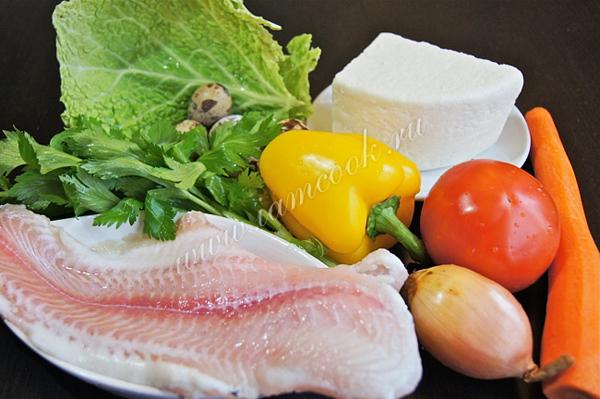 Филе пангасиуса, запеченное в духовке с овощами