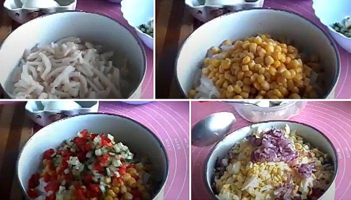 Вкусный салат из кальмаров, яйца, огурца и кукурузы