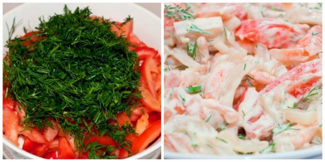 Салат с креветками и кальмарами – рецепт приготовления