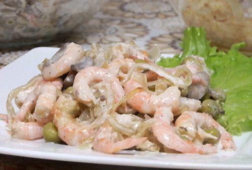 Как приготовить салат с креветками и шампиньонами