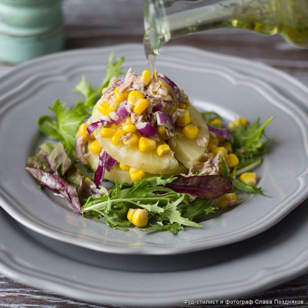 Салат с кукурузой, тунцом и ананасом