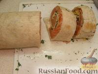 Фото приготовления рецепта: Запеченные рулеты из семги в лаваше - шаг №9