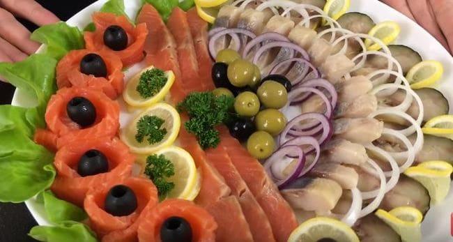 красивая рыбная нарезка на праздничный стол