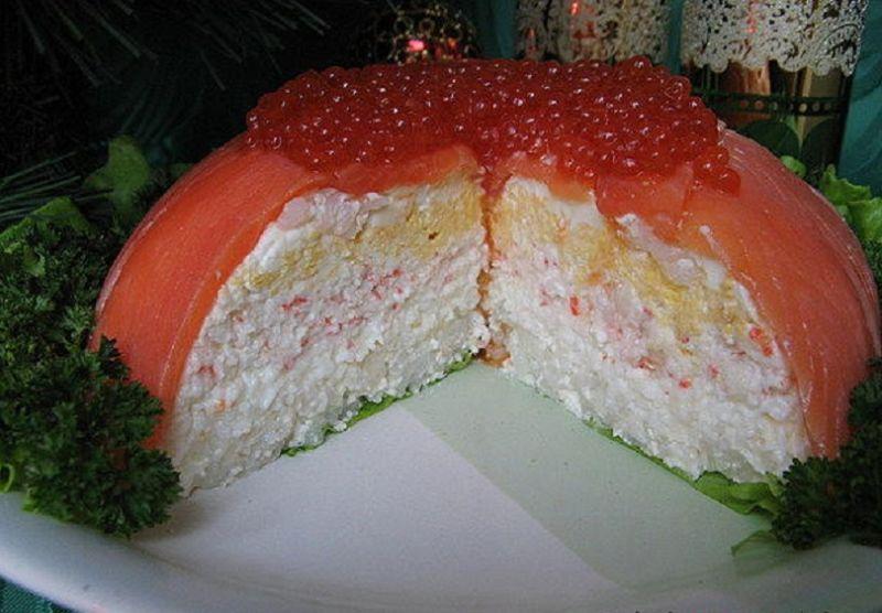 салат морской торт в разрезе