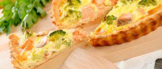 Киш с лососем и брокколи рецепты