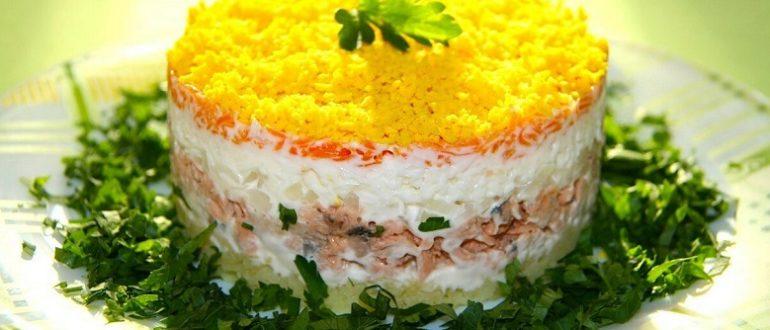 Салат с сардиной консервированной