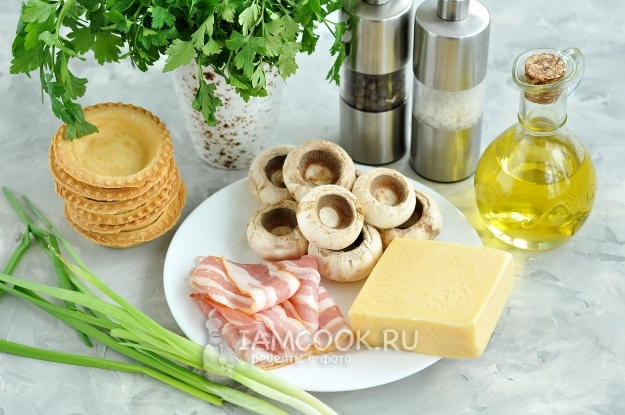 Ингредиенты для тарталеток с грибами и сыром в духовке